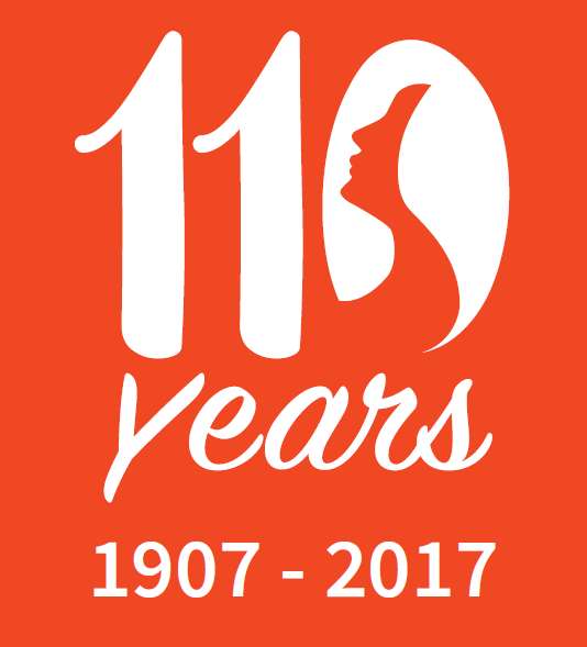 YWCA of Asheville 110th Logo in persimmon with the dates 1907 - 2017
