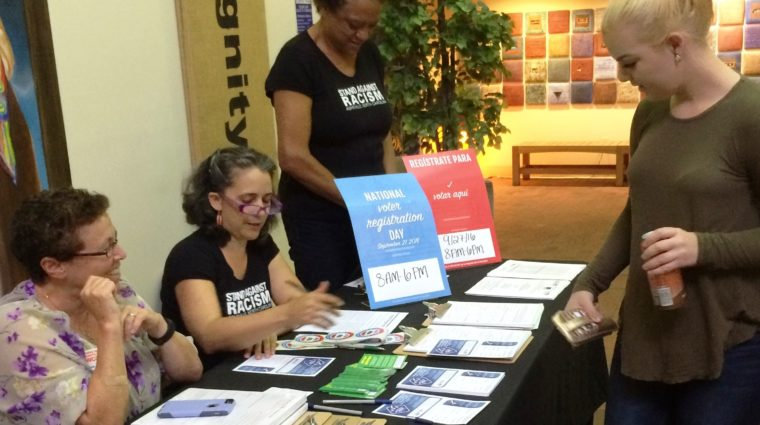 Registering people to vote at the YWCA, read more on our blog.