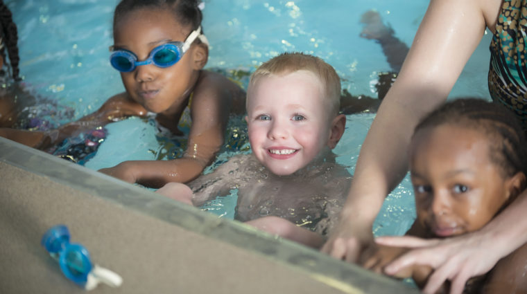 Children in swim lessons