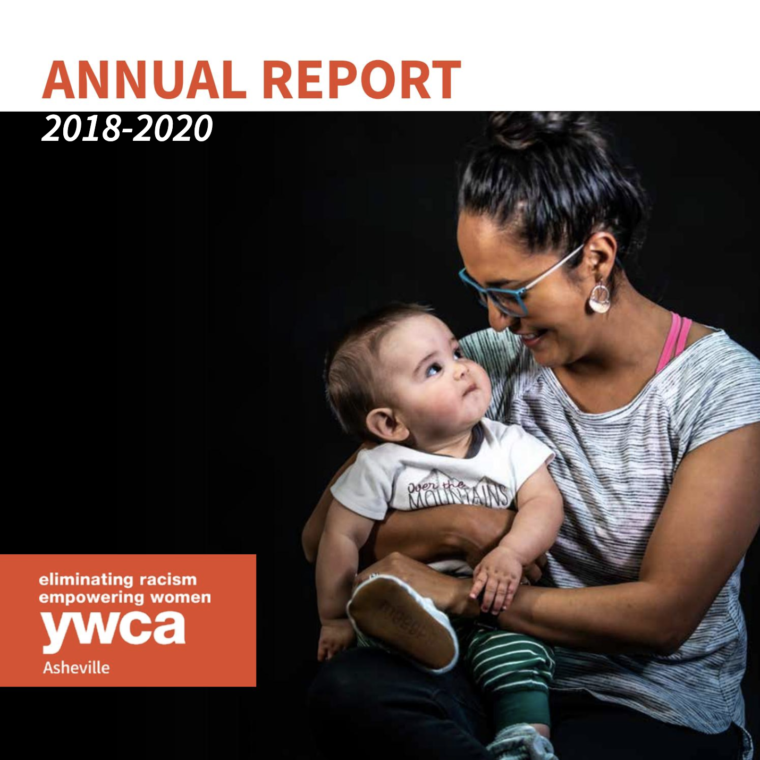 Cover image of mother and child on the 2018-2020 Annual Report