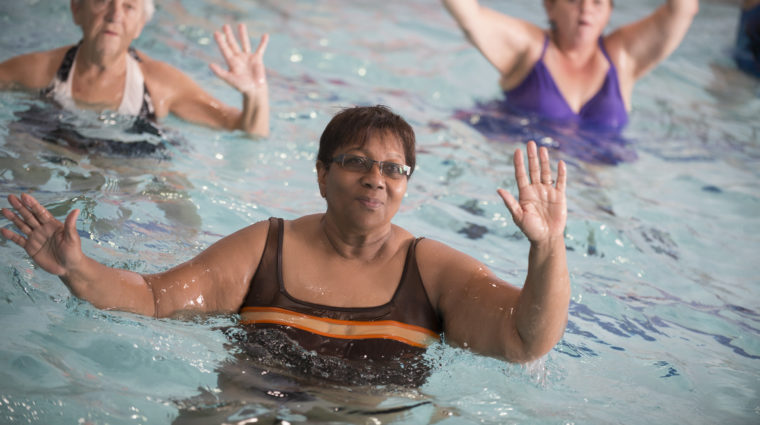 Water aerobics exercise class
